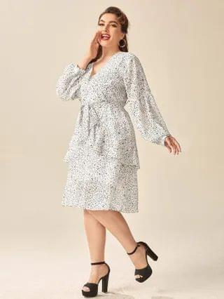 WOMEN Plus All Over Print Bishop Sleeve Belted Dress