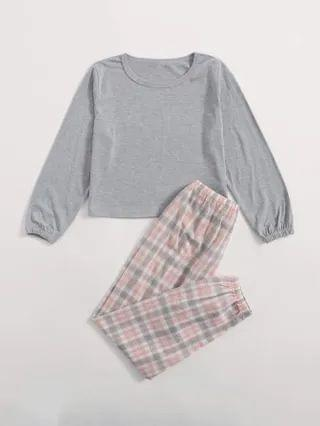 KIDS Sweatshirt & Tartan Pants PJ Set