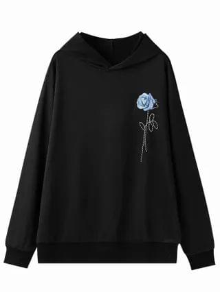 MEN Flower Print Hooded Sweatshirt