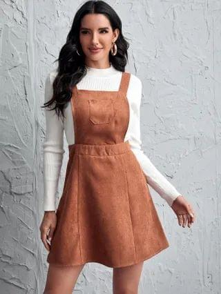 WOMEN Patch Pocket Solid Pinafore Dress