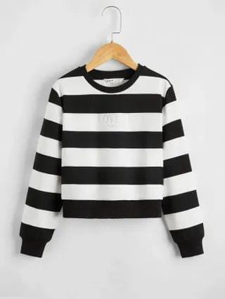 KIDS Silver Letter Graphic Two Tone Striped Pullover