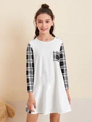 KIDS Plaid Pattern Tee Dress