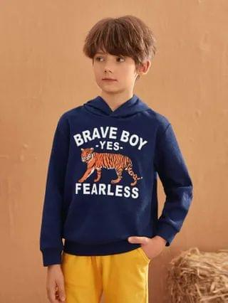 KIDS Letter and Tiger Print Hoodie