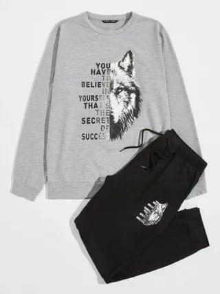 MEN Lion & Slogan Graphic Pullover And Joggers Set