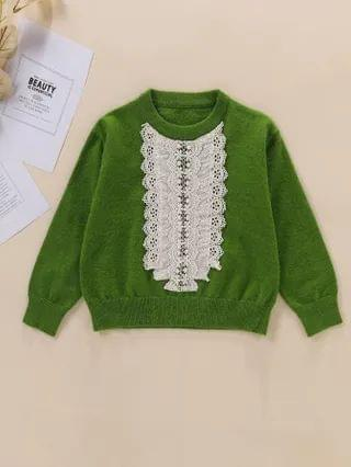 KIDS Eyelet Embroidery Round Neck Sweater