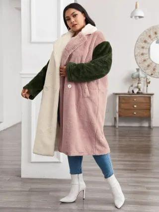 WOMEN Plus Notched Collar Double Breasted Colorblock Faux Fur Coat