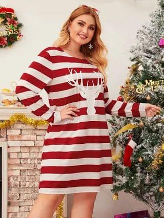 WOMEN Plus Christmas New Year Reindeer Print Stripe Longline Tee