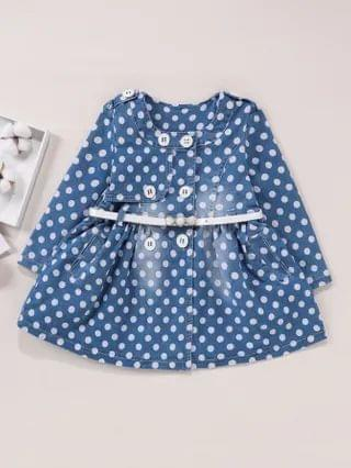 KIDS Polka Dot Double Breasted Belted Denim Coat