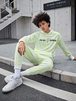 MEN Letter Graphic Allover Print Hoodie & Joggers Set