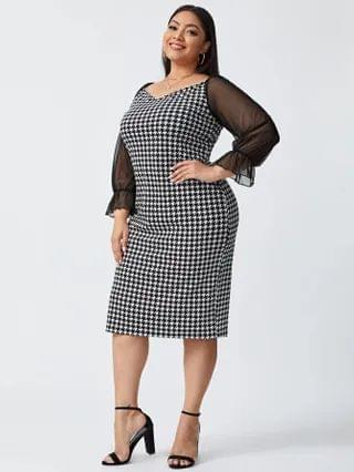 WOMEN Plus Contrast Mesh Flounce Sleeve Houndstooth Fitted Dress