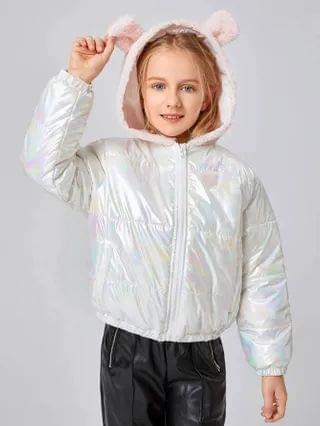 KIDS Zip Up 3D Ear Design Hooded Holographic Puffer Jacket