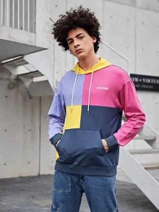 MEN Letter Embroidered Colorblock Hoodie