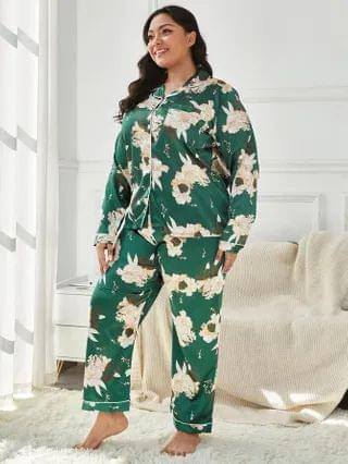WOMEN Plus Allover Floral Satin Pajama Set