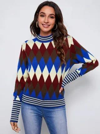 WOMEN Stripped Trim Argyle Pattern Sweater