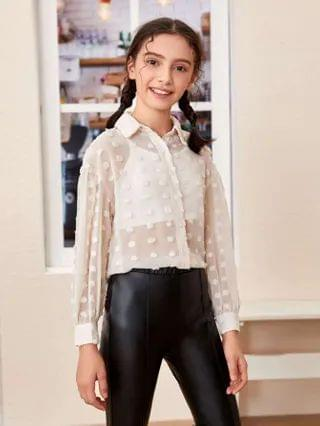 KIDS Collared Appliques Sheer Blouse With Camisole