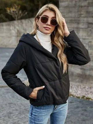 WOMEN Button Front Solid Hooded Puffer Jacket