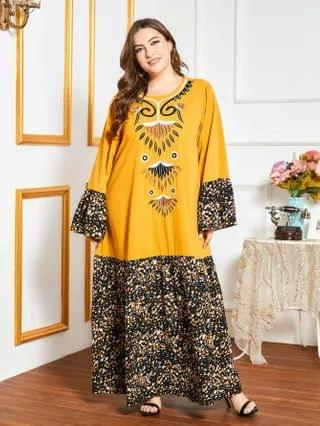 WOMEN Plus Ditsy Floral Flounce Sleeve Embroidery Maxi Dress