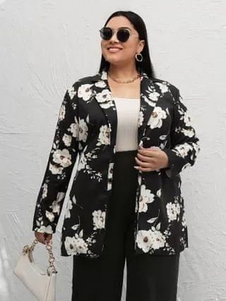 WOMEN Plus Flower Print Blazer