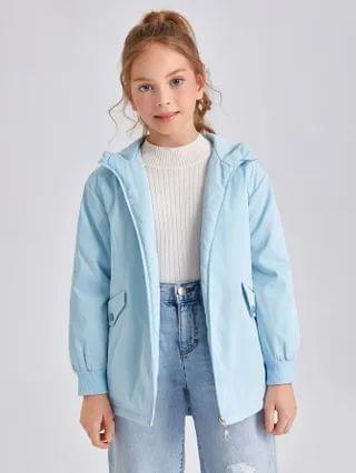 KIDS Flap Detail Zipper Up Hooded Coat