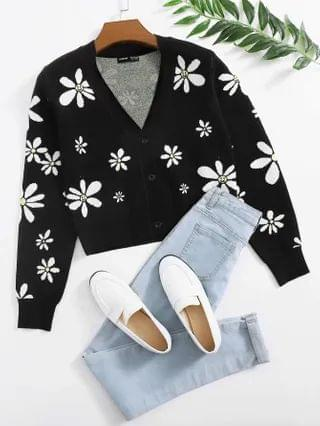 WOMEN Single Breasted Floral Pattern Cardigan