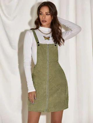 WOMEN Zip Up Cord Pinafore Dress Without Top