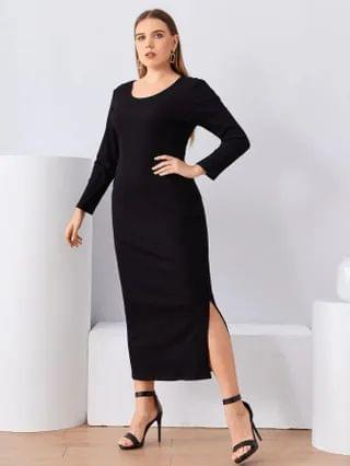 WOMEN Plus Scoop Neck Split Hem Dress