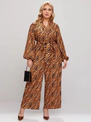 WOMEN Plus All Over Print Wide Leg Belted Jumpsuit