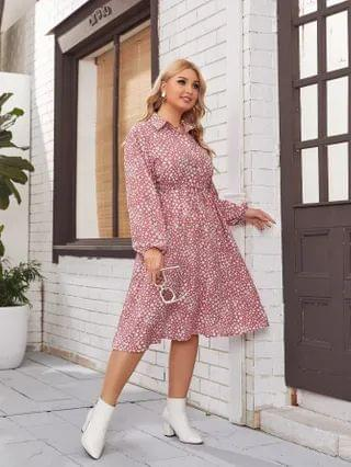 WOMEN Plus Button Front Belted Lantern Sleeve Ditsy Floral Dress