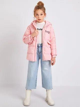 KIDS Letter Embroidery Contrast Tipping Puffer Coat