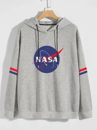 MEN Letter Graphic Striped Hoodie