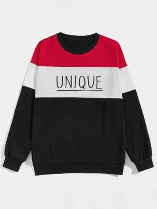 MEN Color Block And Letter Graphic Sweatshirt