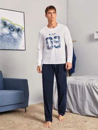 MEN Flower And Letter Graphic Pajama Set