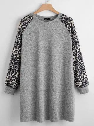 WOMEN Plus Leopard Print Raglan Sleeve Sweatshirt Dress