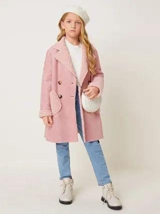 KIDS Notch Collar Patch Pocket Faux Shearling Coat