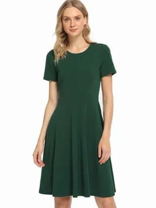 WOMEN Solid Fit & Flare Dress