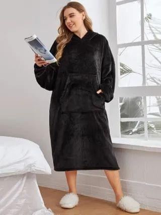 WOMEN Plus Flannel Kangaroo Pocket Hooded Night Dress
