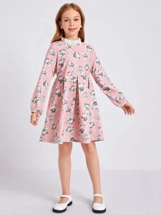 KIDS Mock Neck Floral Dress