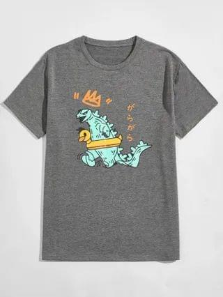 MEN Cartoon And Japanese Letter Graphic Tee