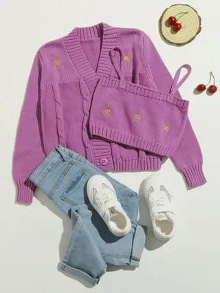 KIDS Embroidery Detail Cable Knit Cardigan With Sweater Vest