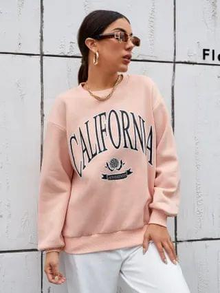 WOMEN Drop Shoulder Letter & Graphic Print Pullover