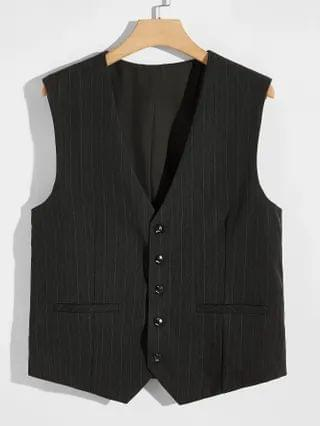 MEN Striped Button Through Blazer Vest