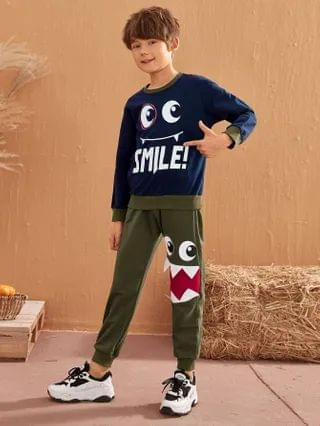 KIDS Letter & Cartoon Graphic Colorblock Pullover & Draped Sweatpants Set