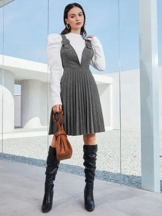 WOMEN Buckle Strap Pleated Hem Pinafore Dress Without Top