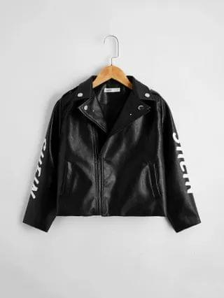 KIDS Zip Up Letter Graphic PU Leather Biker Jacket