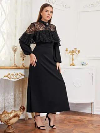 WOMEN Plus Lantern Sleeve Ruffle Trim Lace Yoke Dress
