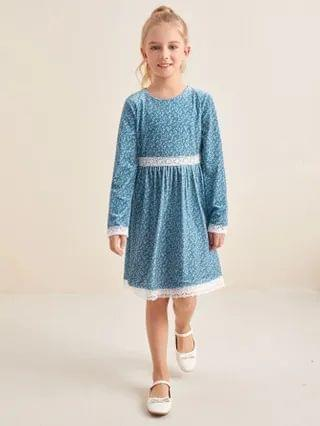 KIDS Lace Panel Ditsy Floral Velvet Dress