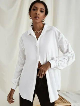 WOMEN Ruched Sleeve Longline Blouse