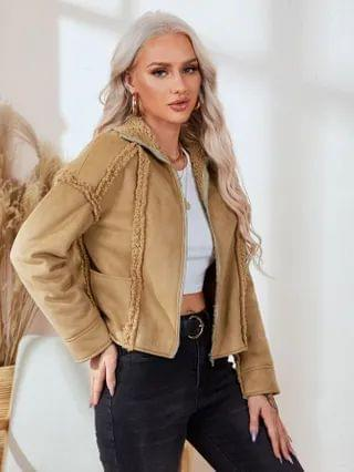 WOMEN Zip Up Suede Jacket