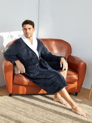 MEN Pocket Front Belted Flannel Robe