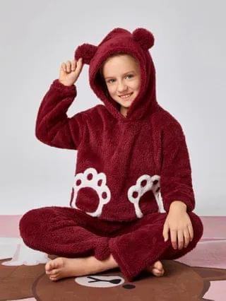 KIDS 3D Bear Ears Design Teddy Hoodie & Pants PJ Set